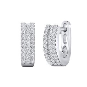 Certified 0.30 cttw Round Diamond Hoop Earrings in 14k White Gold (H-I, I1-I2)