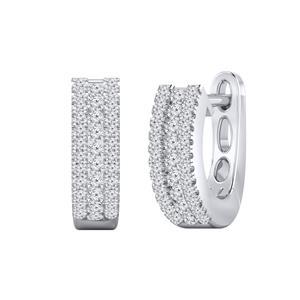 Certified 0.30 cttw Round Diamond Hoop Earrings in 14k White Gold (H-I, I1-I2)