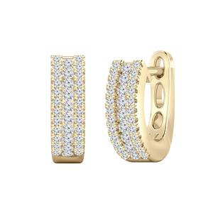 Certified 0.30 cttw Round Diamond Hoop Earrings in 14k Yellow Gold (H-I, I1-I2)