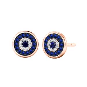 Certified 0.30 cttw Round Blue Sapphire Gemstone and Accent Diamond Stud Earrings in 14k Rose Gold (Blue, AAA)