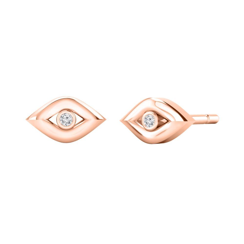 Certified 0.02 cttw Round Diamond Stud Earrings in 14k Rose Gold (H-I, I1-I2)
