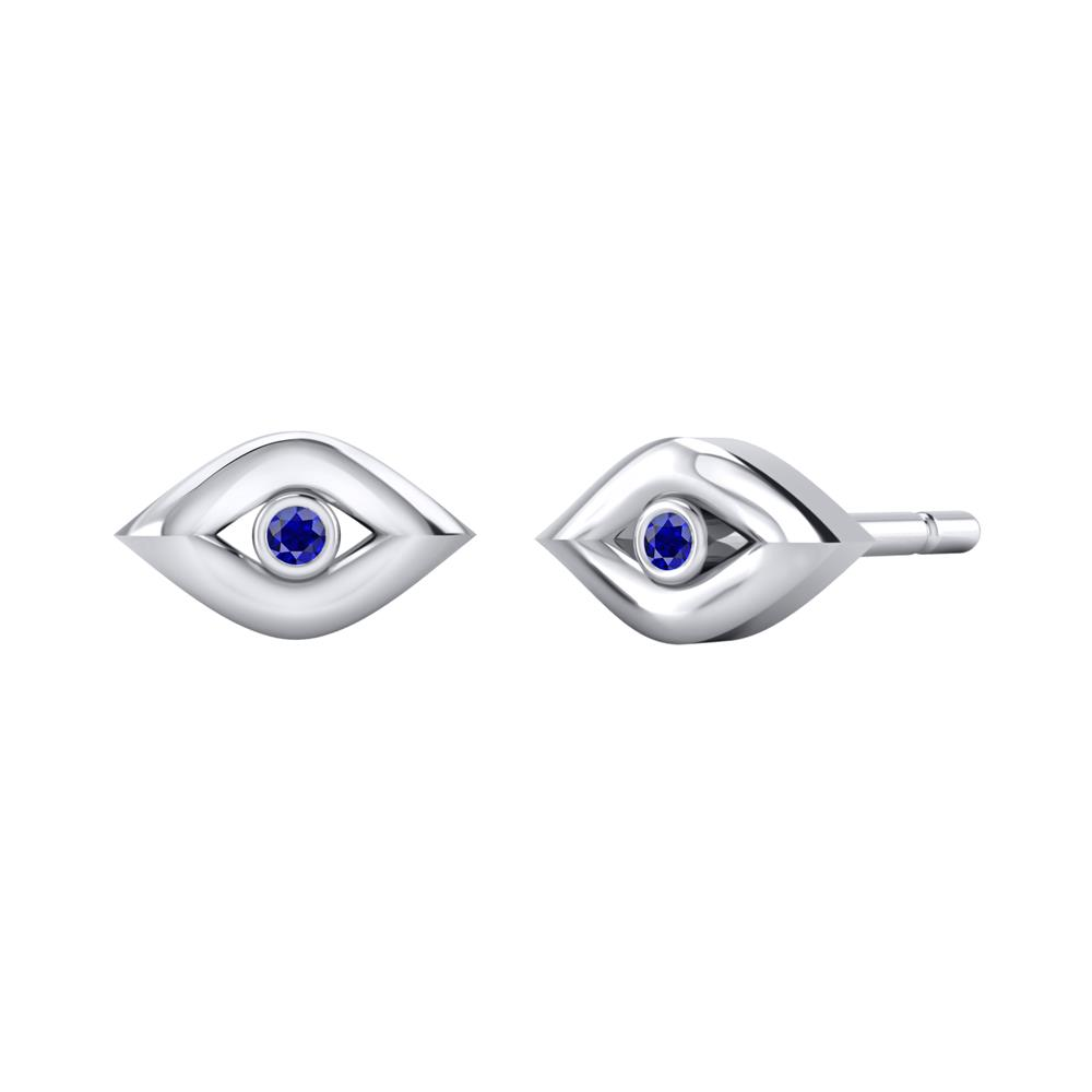 Certified 0.02 cttw Round Blue Sapphire Gemstone Stud Earrings in 14k White Gold (Blue, AAA)