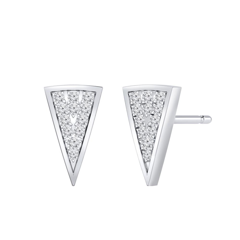 Certified 0.18 cttw Round-cut Diamond Triangle Stud Earrings in 14k White Gold (H-I, I1-I2)