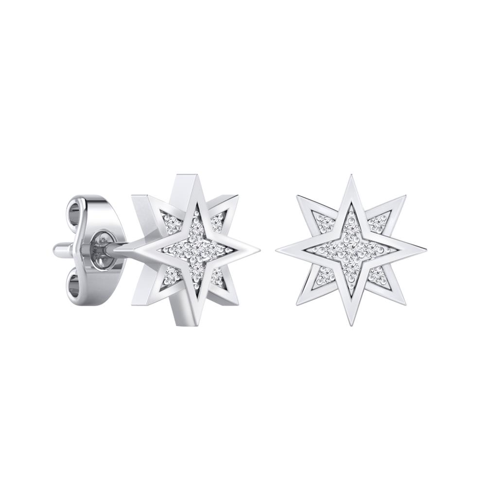 Certified 0.07 cttw Round-cut Diamond Star-Shaped Stud Earrings in 14k White Gold (H-I, I1-I2)