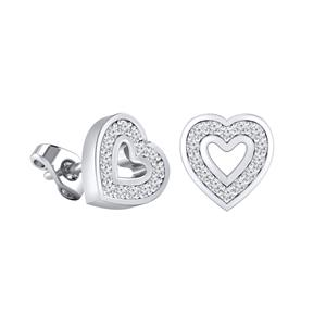 Certified 0.12 cttw Round-cut Diamond Heart-Shaped Stud Earrings in 14k White Gold (H-I, I1-I2)