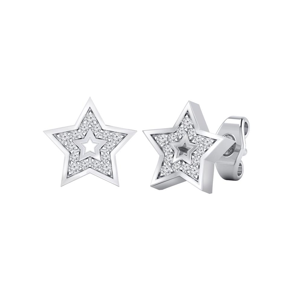 Certified 0.08 cttw Round-cut Diamond Star-Shaped Stud Earrings in 14k White Gold (H-I, I1-I2)