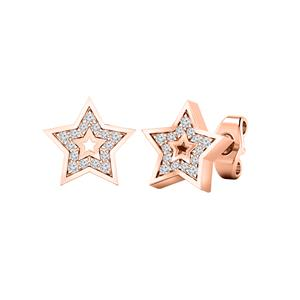 Certified 0.08 cttw Round-cut Diamond Star-Shaped Stud Earrings in 14k Rose Gold (H-I, I1-I2)