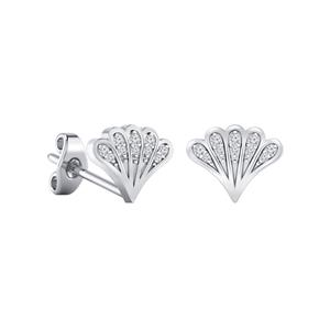 Certified 0.08 cttw Round-cut Diamond Fan-Shaped Stud Earrings in 14k White Gold (H-I, I1-I2)