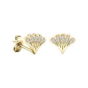 Certified 0.08 cttw Round-cut Diamond Fan-Shaped Stud Earrings in 14k Yellow Gold (H-I, I1-I2)