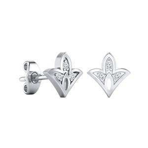 Certified 0.04 cttw Round-cut Diamond Spade-Shaped Stud Earrings in 14k White Gold (H-I, I1-I2)