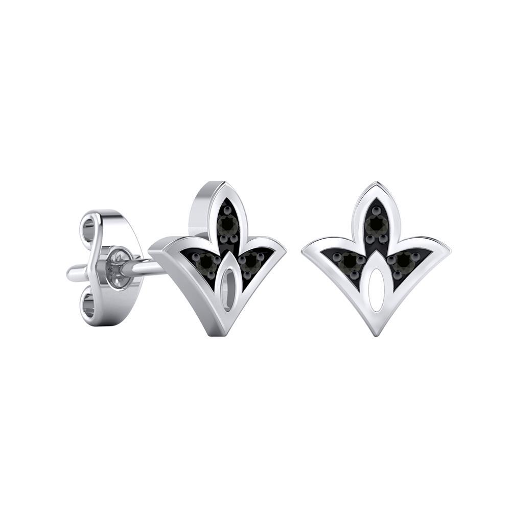 Certified 0.04 cttw Round-cut Diamond Spade-Shaped Stud Earrings in 14k White Gold (Black, AAA)