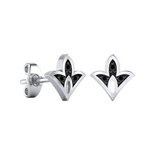 Certified 0.04 cttw Round-cut Diamond Spade-Shaped Stud Earrings in 14k White Gold (Black, AAA)