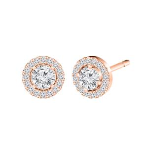 Certified 0.50 cttw Round-cut Diamond Halo Stud Earrings in 14k Rose Gold (H-I, I1-I2)