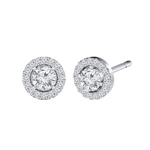 Certified 0.50 cttw Round-cut Diamond Halo Stud Earrings in 14k White Gold (H-I, I1-I2)
