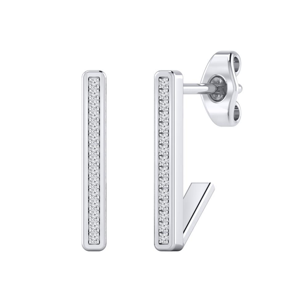 Certified 0.06 cttw Round-cut Diamond Bar Stud Earrings in 14k White Gold (H-I, I1-I2)