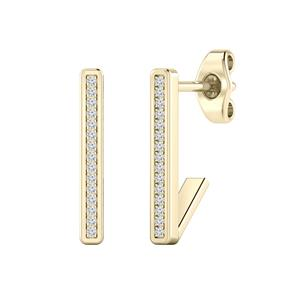 Certified 0.06 cttw Round-cut Diamond Bar Stud Earrings in 14k Yellow Gold (H-I, I1-I2)