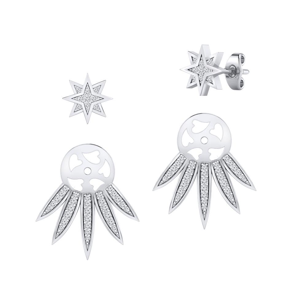 Certified 0.33 cttw Round-cut Diamond Star Shaped Double Sided Stud Earrings in 14k White Gold (H-I, I1-I2)