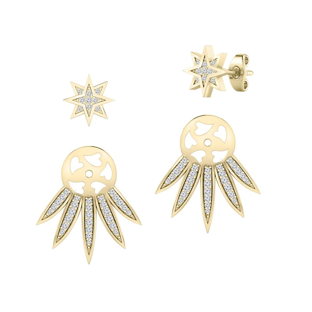 Certified 0.33 cttw Round-cut Diamond Star Shaped Double Sided Stud Earrings in 14k Yellow Gold (H-I, I1-I2)