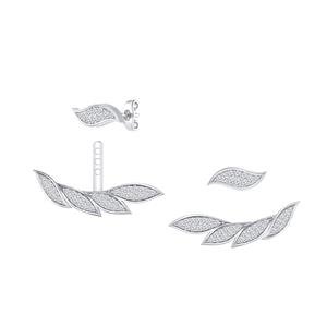 Certified 0.60 cttw Round-cut Diamond Double Sided Feather Shaped Stud Earrings in 14k White Gold (H-I, I1-I2)