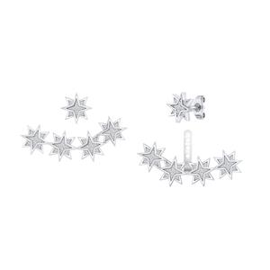 Certified 0.20 cttw Round-cut Diamond Star Shaped Double Sided Stud Earrings in 14k White Gold (H-I, I1-I2)