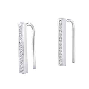 Certified 0.20 cttw Round-cut Diamond Bar shaped Earrings in 14k White Gold (H-I, I1-I2)