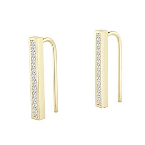 Certified 0.20 cttw Round-cut Diamond Bar shaped Earrings in 14k Yellow Gold (H-I, I1-I2)