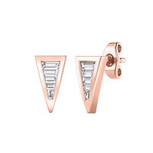 Certified 0.25 cttw Baguette-cut Diamond Triangle shaped Earrings in 14k Rose Gold (H-I, I1-I2)