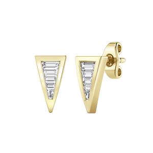Certified 0.25 cttw Baguette-cut Diamond Triangle shaped Earrings in 14k Yellow Gold (H-I, I1-I2)