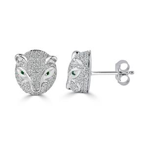 Certified 0.02 cttw Round Emerald Gemstone and 0.48 cttw Diamond Fashion Earrings in 14k White Gold (H-I, I1-I2)