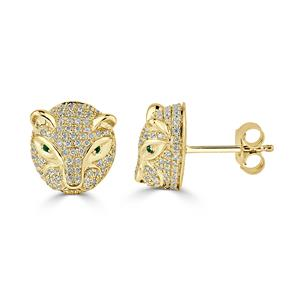 Certified 0.02 cttw Round Emerald Gemstone and 0.48 cttw Diamond Fashion Earrings in 14k Yellow Gold (H-I, I1-I2)