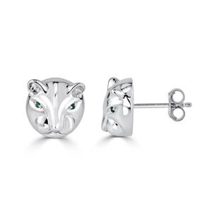 Certified 0.02 cttw Round Emerald Gemstone Fashion Earrings in 14k White Gold (Green, AAA)