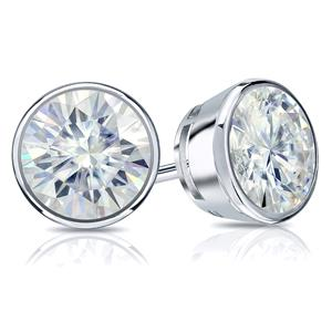 18K White Gold 4.5mm 0.75 TGW Moissanite Round Stud Earrings in Bezel Screw Back