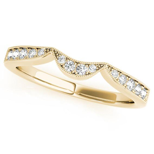 PEONY Vintage Diamond Wedding Ring in 14K Yellow Gold