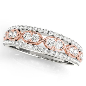 AMBER Diamond Wedding Ring in 14K White and Rose Gold