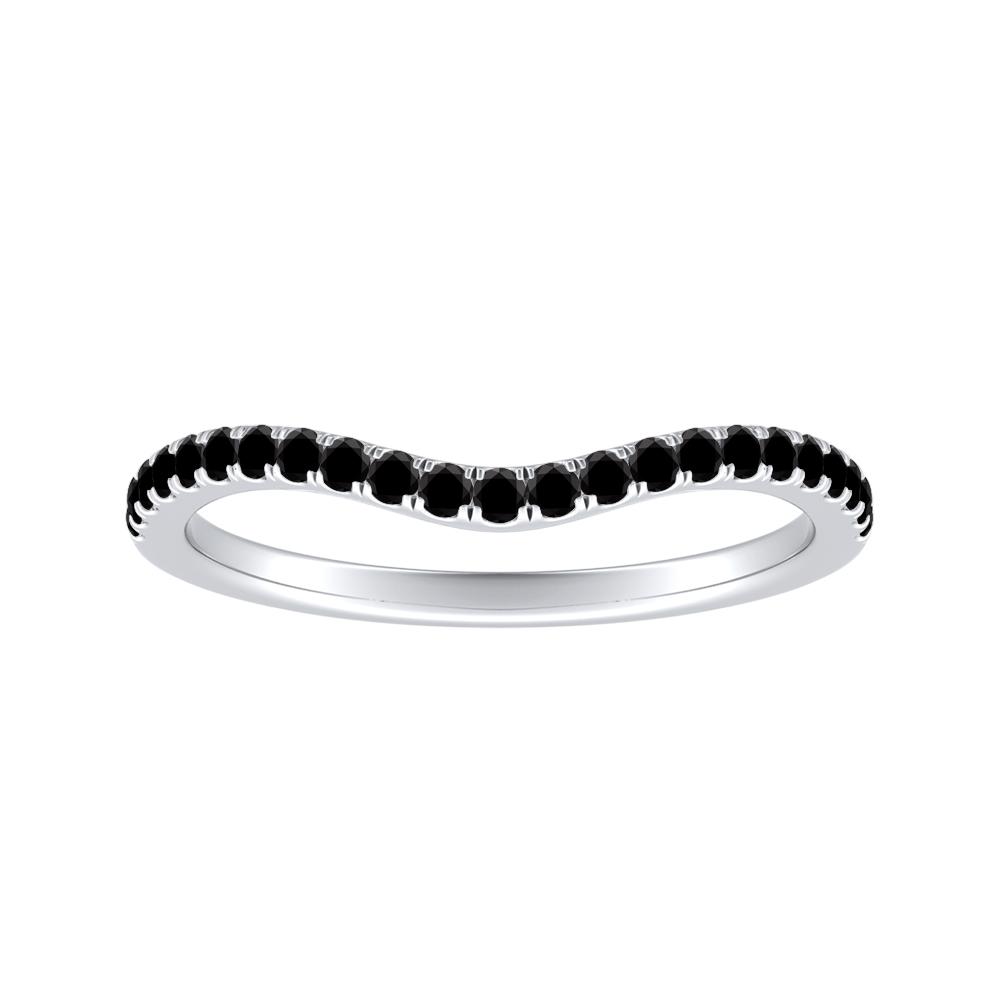 LUCILLE Black Diamond Wedding Ring In 14K White Gold