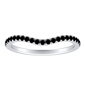 LUCILLE Black Diamond Wedding Ring In 14K White Gold