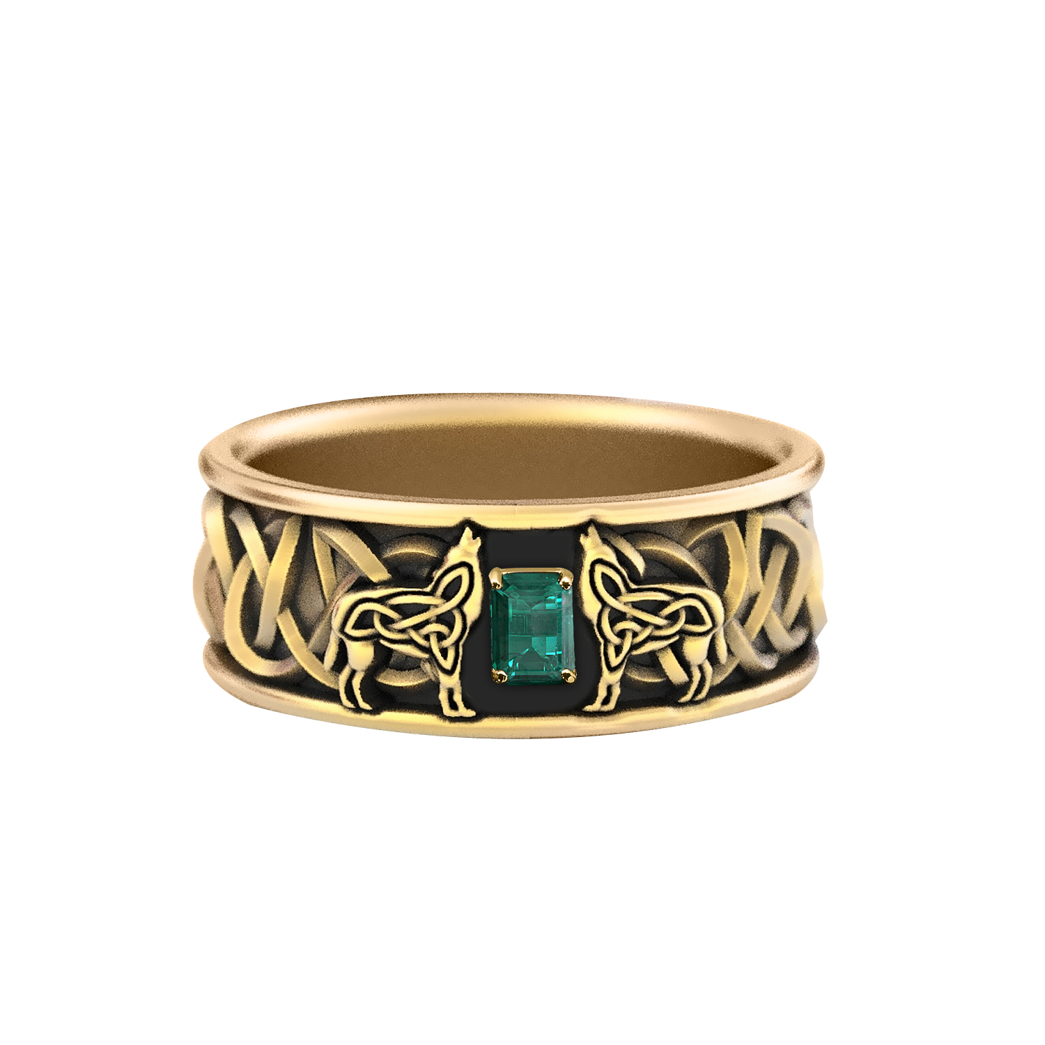 Wedding Ring in 14K Yellow Gold with Green Emerald Gemston 0.50 ctw