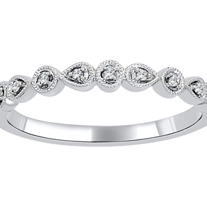 ALLISON Vintage Diamond Wedding Ring In 14K White Gold