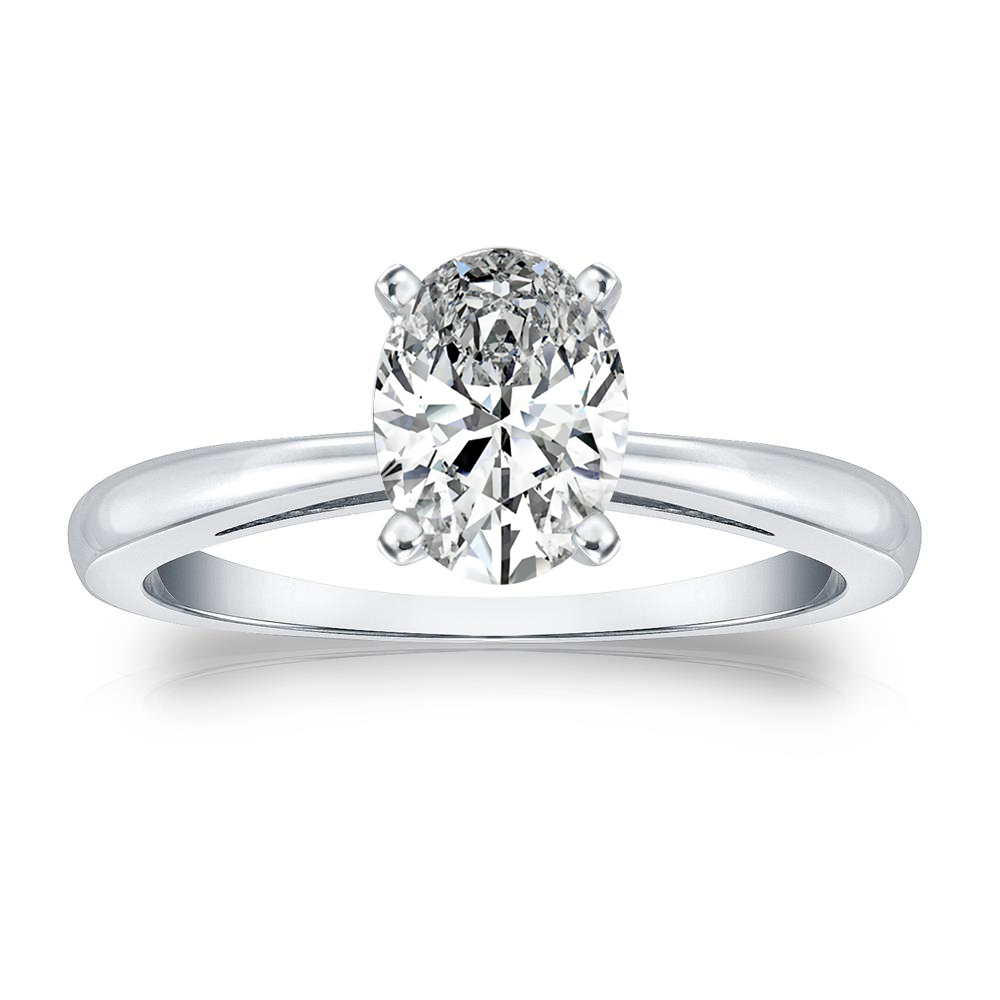 Isabelle Solitaire Diamond Engagement Ring in 14k White Gold