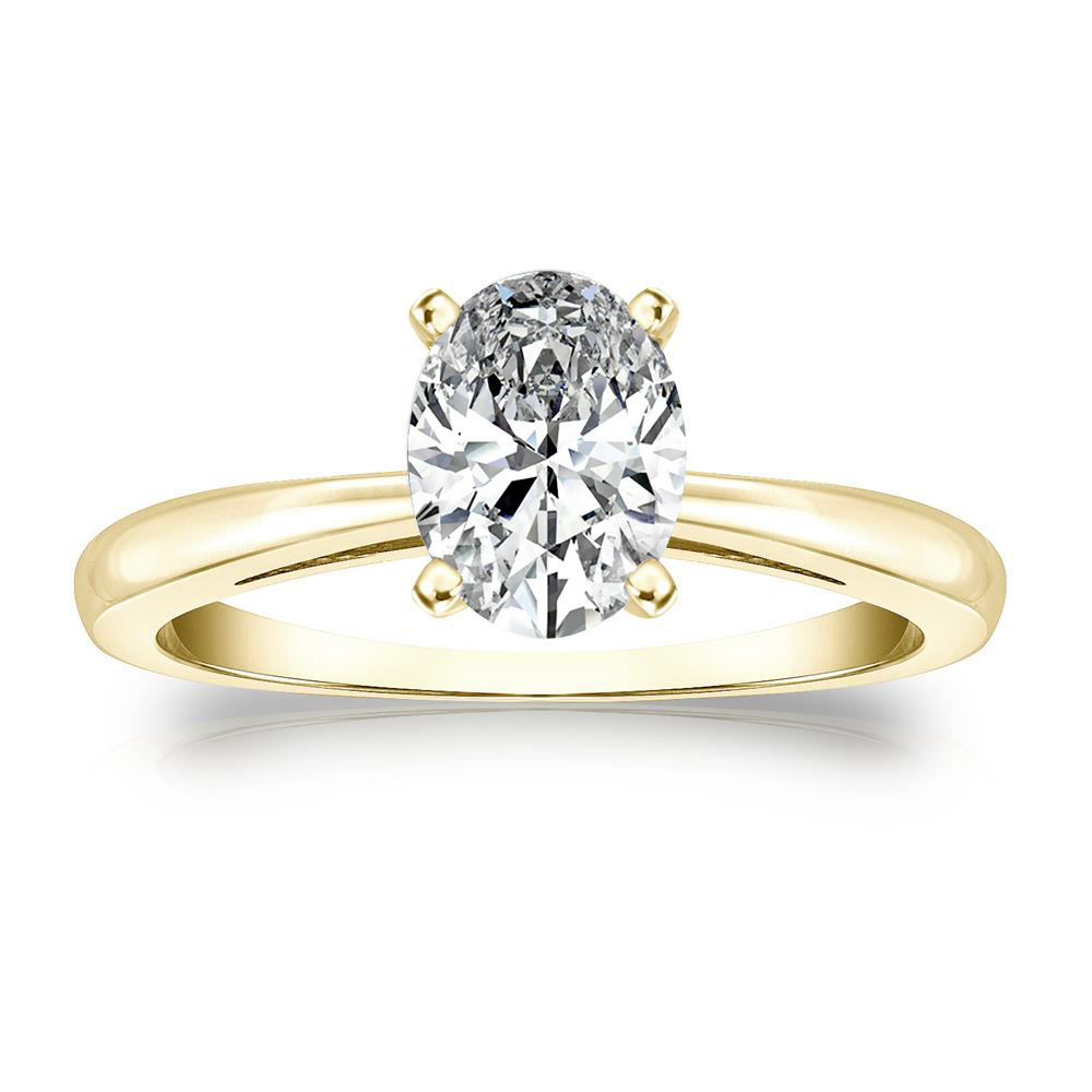 Isabelle Solitaire Diamond Engagement Ring in 14K Yellow Gold