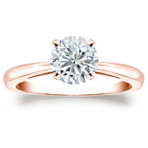 Isabelle Solitaire Diamond Engagement Ring in 14K Rose Gold