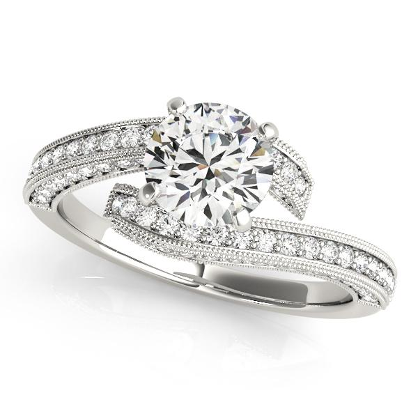 Maira Modern Diamond Engagement Ring in 14K White Gold