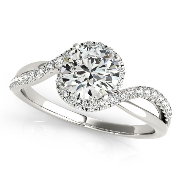 Ashley Halo Diamond Engagement Ring in 14K White Gold