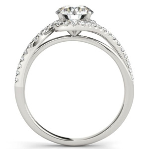 Ashley Halo Diamond Engagement Ring with Wedding Ring in 14K White Gold
