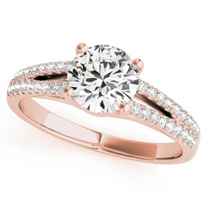 Kara Split Shank Diamond Engagement Ring in 14K Rose Gold
