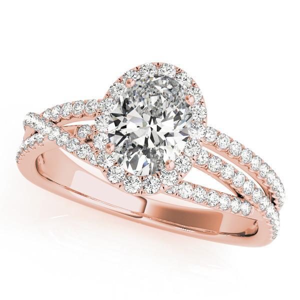 Nicole Halo Diamond Engagement Ring in 14K Rose Gold
