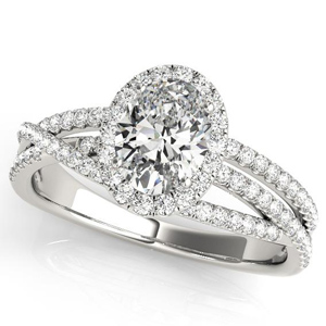 Nicole Halo Diamond Engagement Ring in 14K White Gold