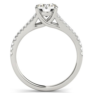 Prim Modern Diamond Engagement Ring with Wedding Ring in 14K White Gold