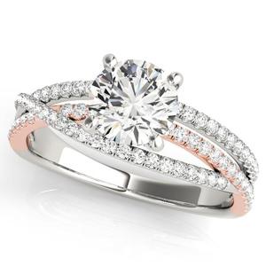 Nadia Modern Diamond Engagement Ring in 14K White and Rose Gold