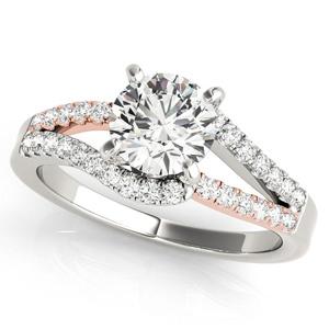 Sylvie Modern Diamond Engagement Ring in 14K White and Rose Gold